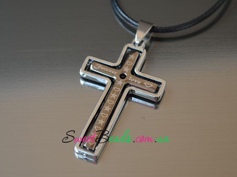 Кулон Крест Любовь навсегда, сталь