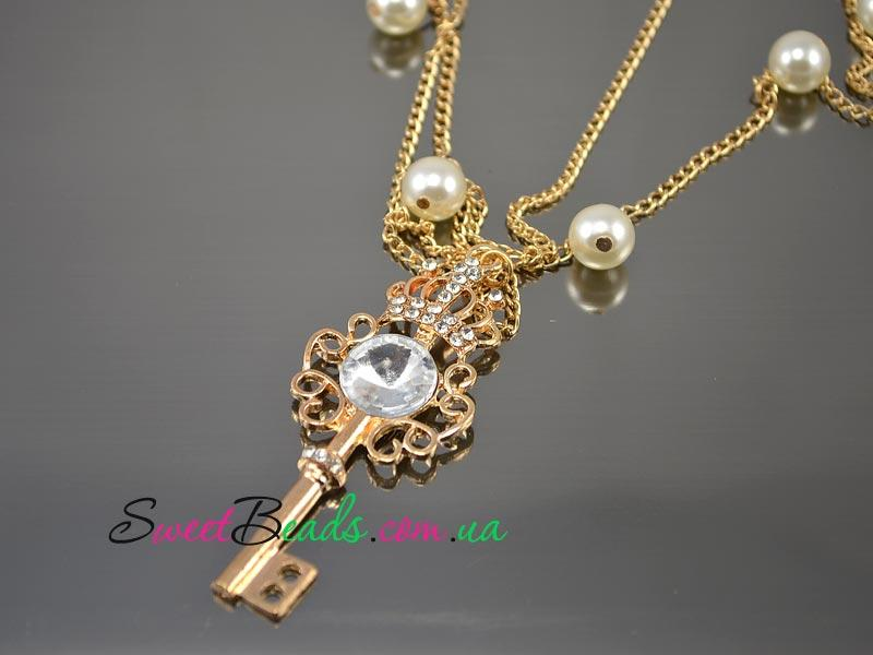Кулон Ключ с короной, золото