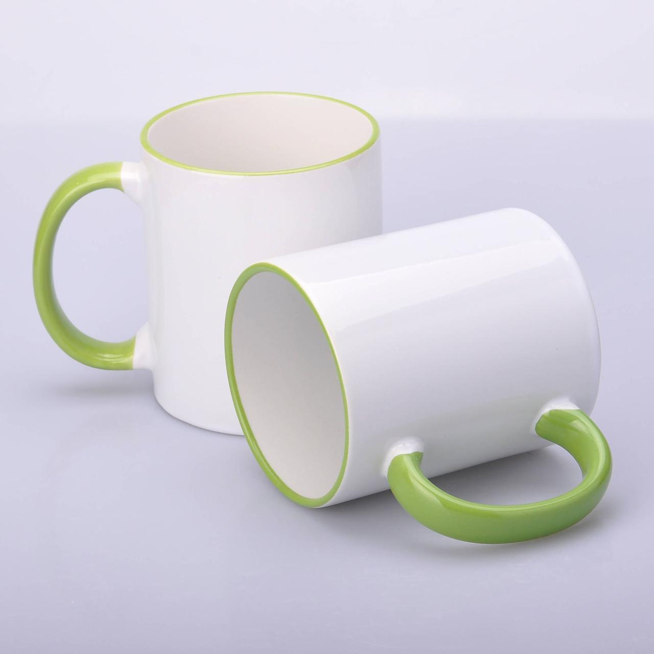 Кружка для сублимации цветной ободок и ручка 330 мл (салатовый)