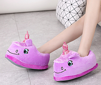 Детские тапочки игрушки фиолетовые Единороги,30-35