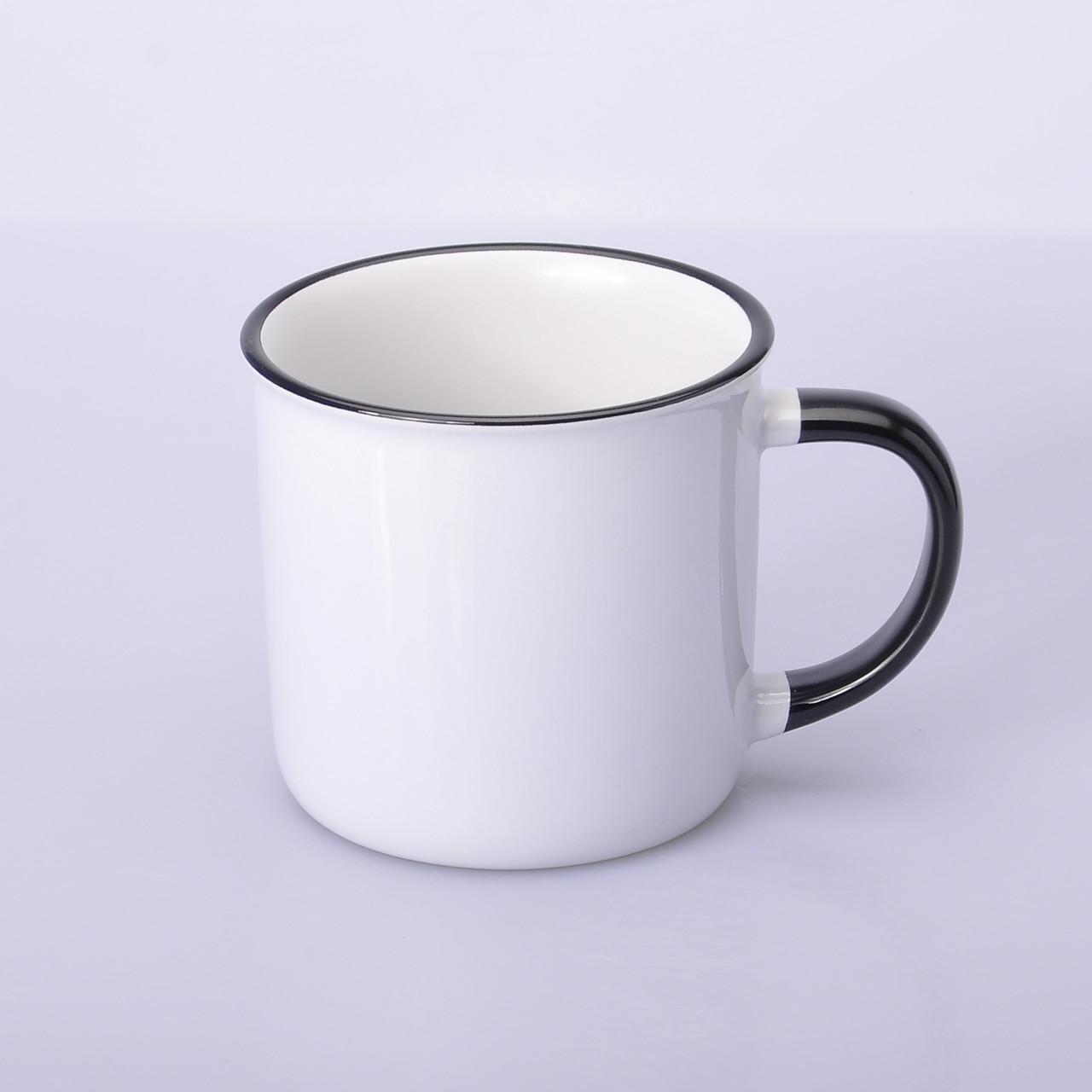 """Чашка сублимационная керамическая """"эмалированная"""", 300 мл Чёрный ободок и ручка"""