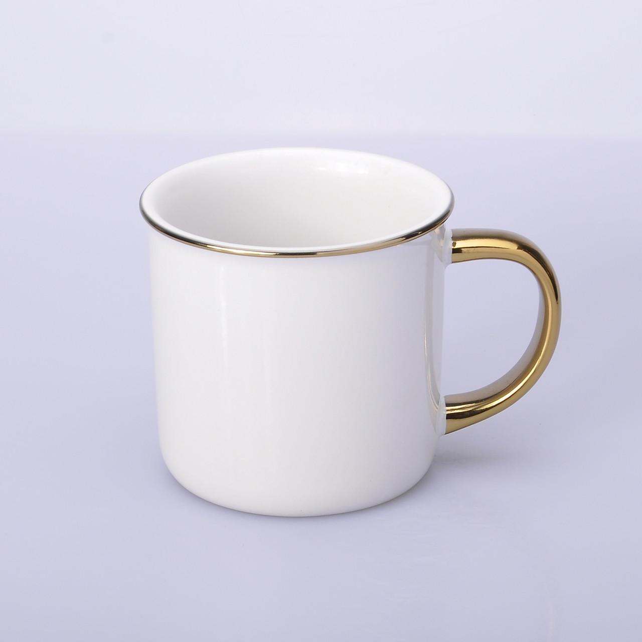 Эмалированая чашка для сублимации цветной ободок и ручка (золото)
