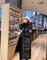 Женское зимнее пальто пуховик с капюшоном лаковое покрытие, фото 1