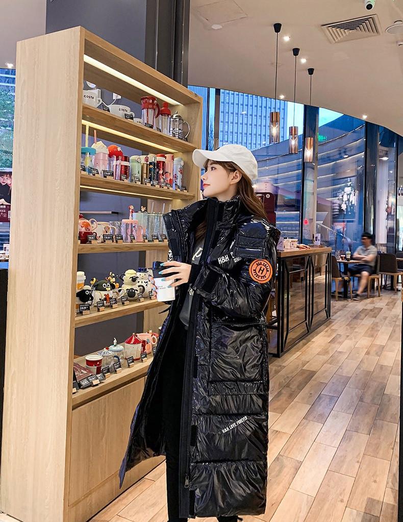 Женское зимнее пальто пуховик с капюшоном лаковое покрытие