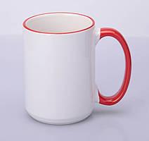 Кружка для сублимации цветной ободок и ручка 425 мл (Красный)