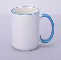 Кружка для сублимации цветной ободок и ручка 425 мл (Голубой)