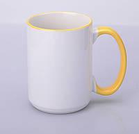 Кружка для сублимации цветной ободок и ручка 425 мл (Желтый)
