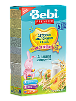 Каша молочная 4 злака с персиком Bebi Premium, 200 г