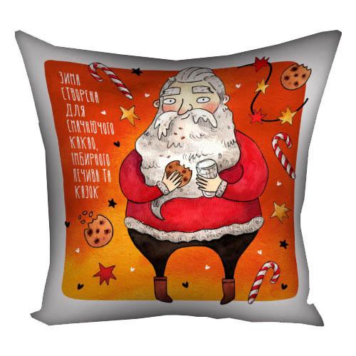 Подушка с принтом Зима створена для смачного какао, імбирного печива та казок 30x30, 40x40, 50x50