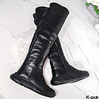 Демисезонные женские черные ботфорты, натуральная кожа, фото 8