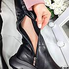 Демисезонные женские черные ботфорты, натуральная кожа, фото 10