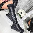Демисезонные женские черные ботфорты, натуральная кожа, фото 5