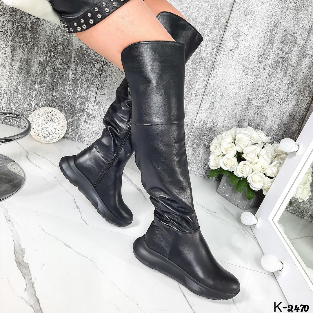 Демисезонные женские черные ботфорты, натуральная кожа