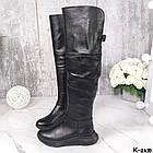 Демисезонные женские черные ботфорты, натуральная кожа, фото 9