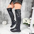 Демисезонные женские черные ботфорты, натуральная кожа, фото 2