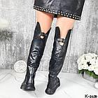 Демисезонные женские черные ботфорты, натуральная кожа, фото 3