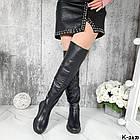 Демисезонные женские черные ботфорты, натуральная кожа, фото 4