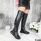 Демисезонные женские черные ботфорты, натуральная кожа, фото 6