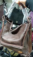 Женская каштановая сумка-торба класса Люкс из искусственной кожи 37*35 см