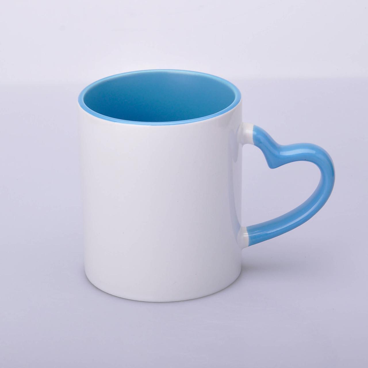 Кружка сублимационная цветная внутри и ручка Love (голубой)