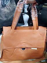 Женская рыжая сумка-портфель класса Люкс из искусственной кожи с клапаном 40*30 см