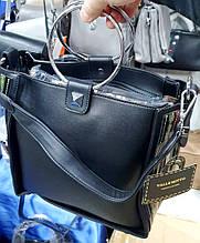 Женская черная сумка класса Люкс из искусственной кожи с круглыми металлическими ручками 26*26 см