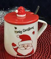 """Чашка подарок с крышкой и ложкой """"Новогодний колпак"""" 375 мл, фото 1"""