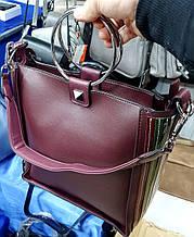 Женская бордовая сумка класса Люкс из искусственной кожи с круглыми металлическими ручками 26*26 см