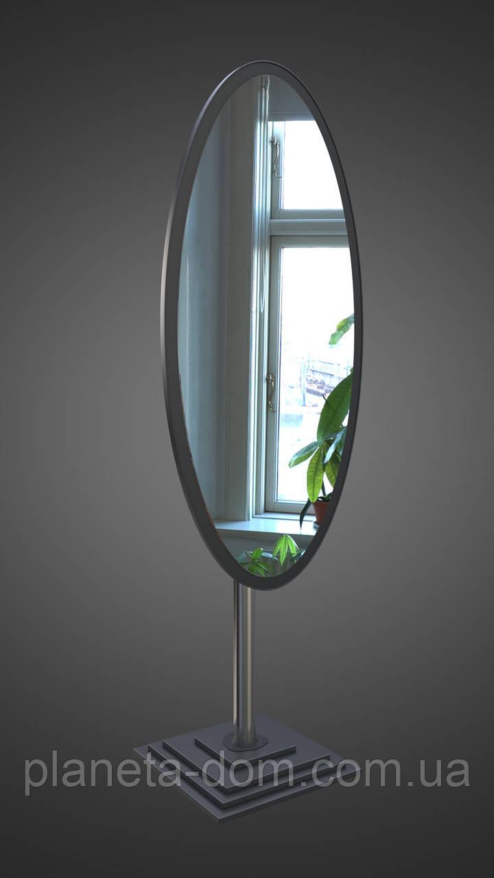 Овальне підлогове дзеркало, чорне