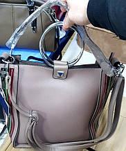 Женская сумка класса Люкс из искусственной кожи с круглыми металлическими ручками 26*26 см