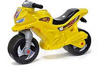 Детская каталка-мотоцикл Орион, беговел 2-х колесный Желтый