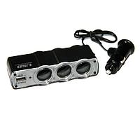 Трійник спліттер розгалужувач прикурювача USB HLV Triple Socket WF-0120