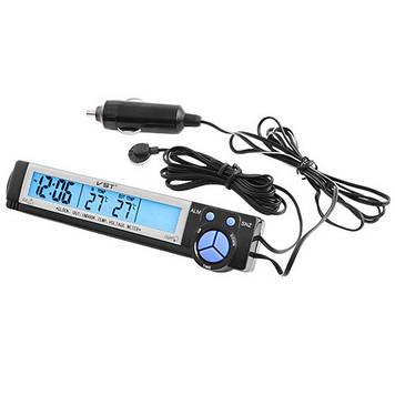 Авточасы VST 7043V термометр, вольтметр (20053100017)