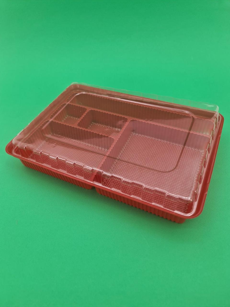 Упаковка для суши ПС-610 Красная  с делениями (50 шт)