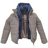 Куртка рефлективна світловідбиваюча підліткова для дівчинки з синьою трикотажної вставкою та капюшоном, фото 9