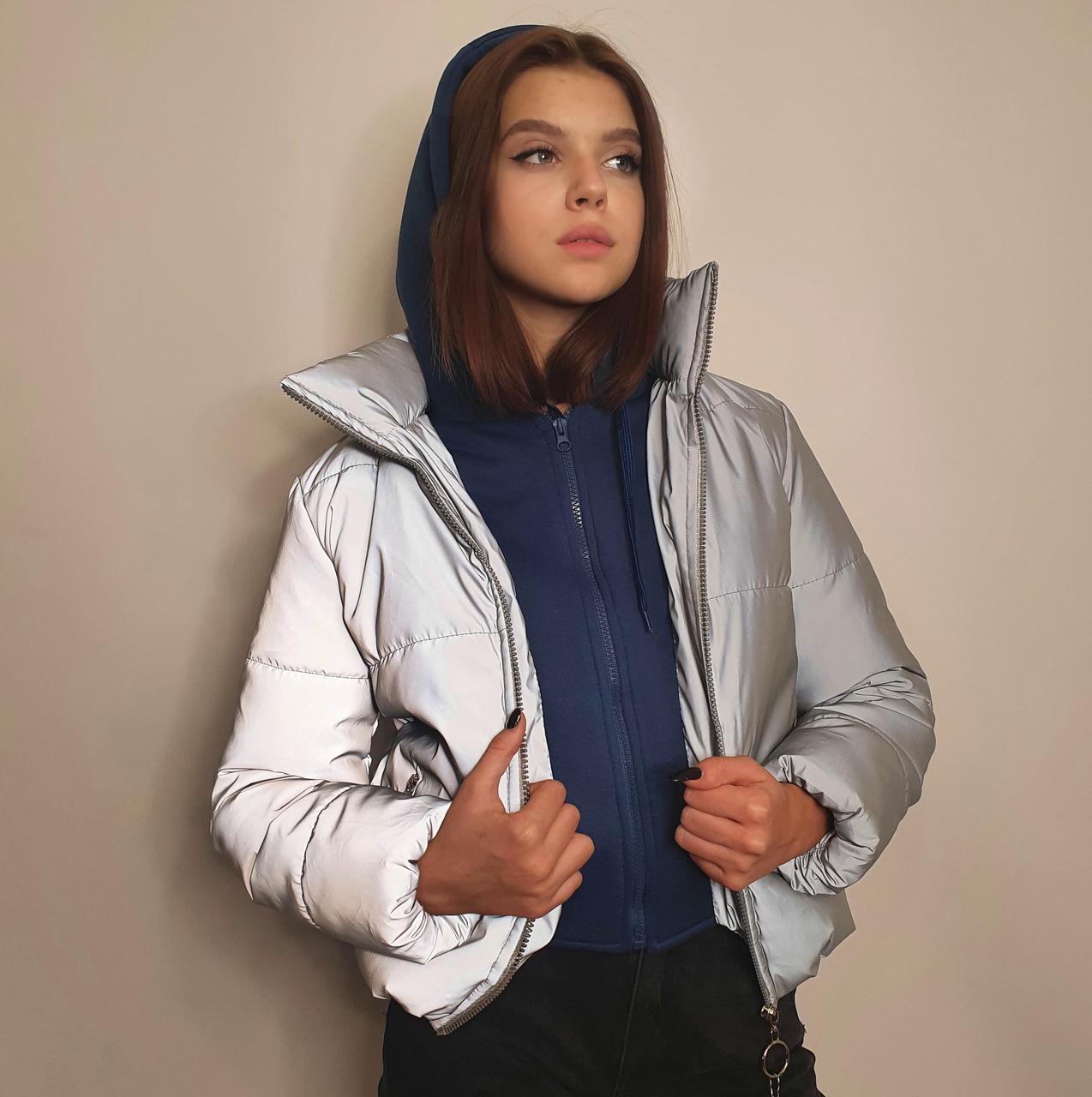 Куртка рефлективна світловідбиваюча підліткова для дівчинки з синьою трикотажної вставкою та капюшоном