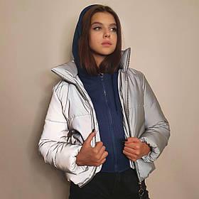Куртка рефлективная светоотражающая подростковая для девочки с синей трикотажной вставкой и капюшоном
