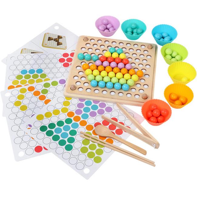 Многофункциональная деревянная игра мозаика, сортер CandyWood Bead Holder с пинцетом