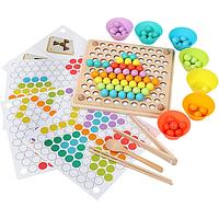 Многофункциональная деревянная игра мозаика, сортер CandyWood Bead Holder с пинцетом, фото 1