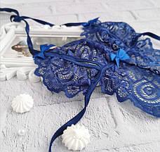 Соблазнительный боди кружевной с вырезами Синий, фото 2