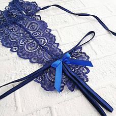 Соблазнительный боди кружевной с вырезами Синий, фото 3
