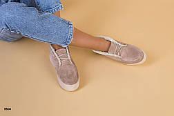 Женские зимние замшевые ботинки, беж, р.36-40, фото 3
