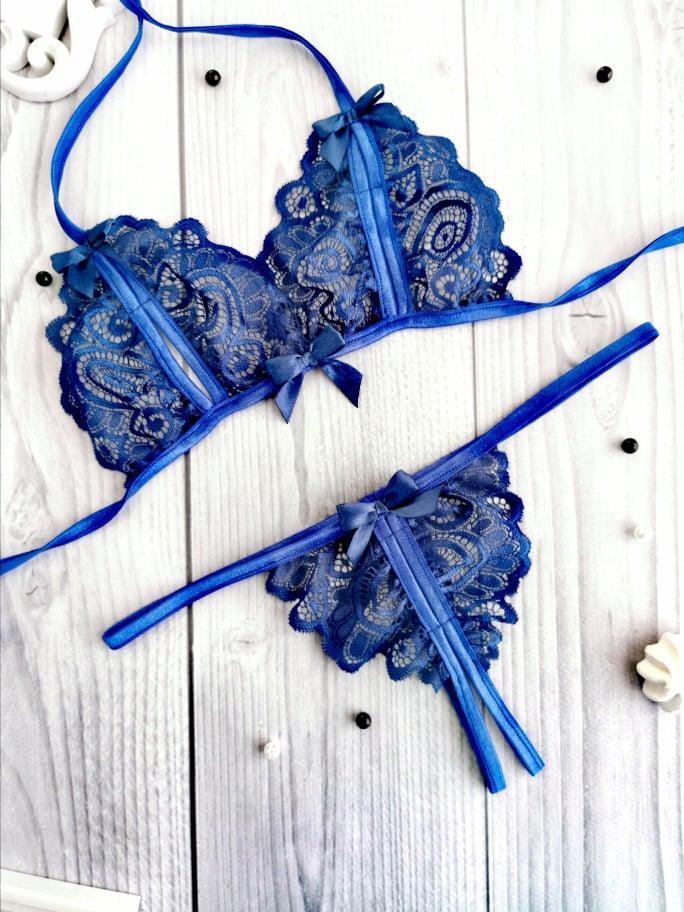 Сексуальное белье кружевной комплект с вырезами Синий. Размеры от XS до XXL