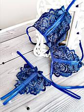 Сексуальное белье кружевной комплект с вырезами Синий. Размеры от XS до XXL, фото 3