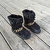 Черные Унты Угги ботинки высокие каракуль с мехом наверху зимние на платформе, фото 4