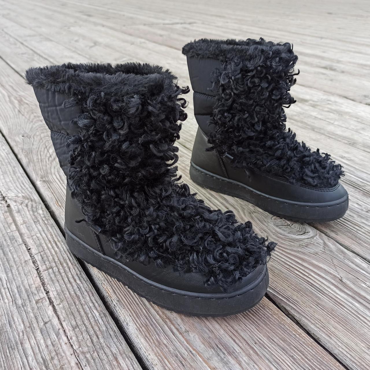 Черные Унты Угги ботинки высокие каракуль с мехом наверху зимние на платформе