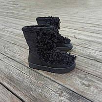 Черные Унты Угги ботинки высокие каракуль с мехом наверху зимние на платформе, фото 3