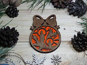 Деревянное елочное украшение Тонированное Свечи №52 с Бантиком с Оранжевым