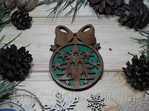 Деревянное елочное украшение Тонированное Елка №50 с Бантиком с Зеленым фоном