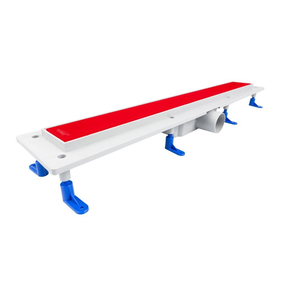 Душевой канал со стеклянной решеткой 900 мм с сухим сифоном Styron Red painted STY-GFP-90